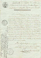 1816 large birth certificate with official stamp and nice calligraphy signature
