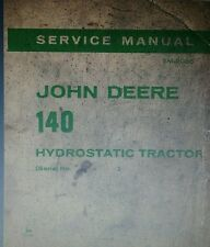 John Deere 140 Hydrostatic Lawn Garden Tractor Service Manual s/n 000001- up