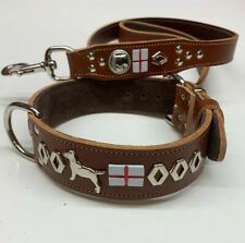 """ENGLISH BULL TERRIER DOG COLLAR+LEAD SET REAL LEATHER,1""""1/2 WIDE"""
