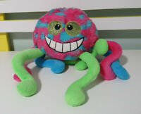TIM THE TOYMAN SPIDER PLUSH TOY PINK BLUE GREEN STUFFED ANIMAL ABOUT 17CM TALL