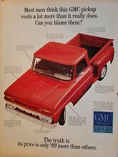 1965 GMC General Motors Red Pickup Truck Original Print Ad
