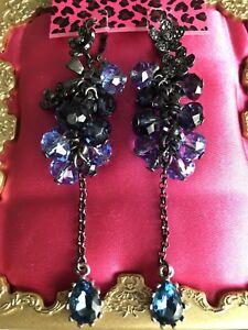 Betsey Johnson Midnight Romance Pewter Hematite Blue Crystal Flower Earrings