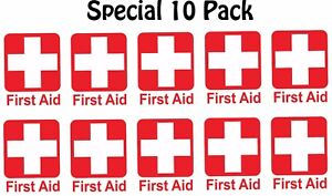 First Aid Red Cross Vinyl Decal Stickers 10 Pack  p35