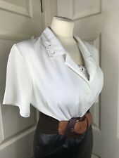 "Prim White Blouse Size 18 47"" Chest Mumsy Secretary Mistress CD TV D367"