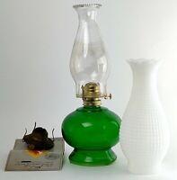 Vintage P&A Risdon Kerosene Oil Lamp Green Glass Tank Clear Chimney + Accessory