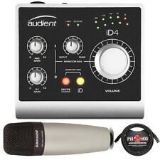Audient ID4 USB Home Recording Interface w/ Samson C01 Microphone + 10' Cable