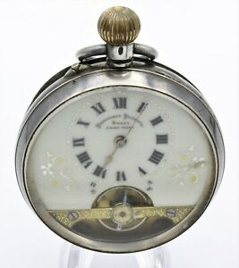 HEBDOMAS 8 JOURS/ 8 DAYS ANCRE MANUAL WIND 49MM SILVER POCKET WATCH WB70-1