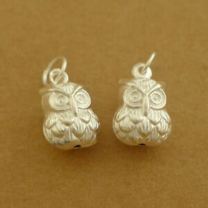 2 Sterling Silver 3D Double Sided Owl Charms Pendants