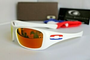 New Oakley Hijinx Holland Country Flag Polished White Fire Sunglasses 24-214