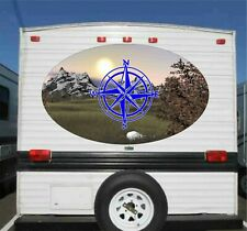 """Compass Rose Rv Camper Trailer Boat Mountains Graphics Decals Stickers 50"""""""