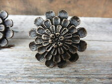 Antique Bronze Metal FLOWER Cabinet Drawer Pull - Rustic Detailed Floral KNOB