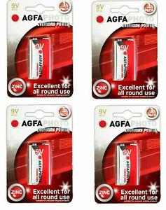9V 9 Volt PP3 Zinc Chlorure Piles Pour Fumée Alarme Long Life 4 Paquet