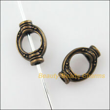 30Pcs Antiqued Bronze Tone Oval Rice Spacer Beads Frame Charms 8x11.5mm
