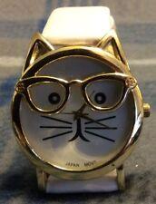 Olivia Pratt Womens Gold-Tone Ears And Glasses White Cat Face Print Dial