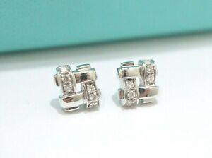Tiffany & Co. 18K White Gold Vannerie Diamond Stud Earrings