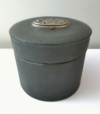 Vintage Black Leather Sewing Round Box with Ornate Top Latch Compartment Antique