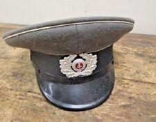 Vintage East German Cap Hat Military Gray/Black- Size 57