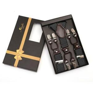 Black Dual Clip On Elastic suspenders for Men - Adjustable Y Straps For Work Pan