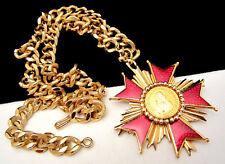 "Rare Vintage 22""x3"" Signed Nettie Rosenstein Coin Maltese Cross Necklace A60"