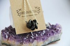 Shungite necklace with 3 small tumbled beads on a chain EMF healing crystal CC04