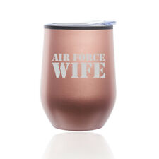 Stemless Wine Tumbler Coffee Travel Mug Glass Cup w/ Lid Air Force Wife