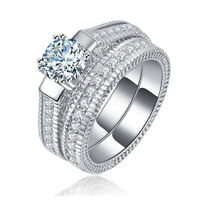 925 Sterling Silver Plated Jewelry Women Bridal Sets 2pcs White Sapphire Rings