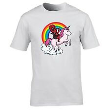 Cartoon Parody Riding a Pink Unicorn Rainbow T-Shirt Wade Wilson Comic Character