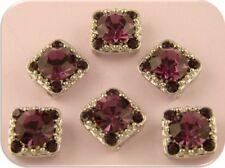 2 Hole Beads GALA 8mm Amethyst Swarovski Crystal Elements SILVER ~ Sliders QTY 6