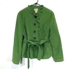 L.L. Bean Corduroy Jacket Green Ruffled Edges Buttons New Without Tags Petite 14