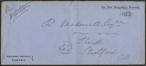 1862 FREE Rated OHMS Cover, Governor's Secretary Canada, Quebec to Stratford