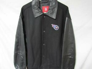 Tennessee Titans Mens X-Large Snap Up Wool Jacket with Leather Sleeves B1 42