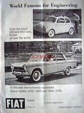 FIAT '500' 1959 Motor Car ADVERT #3 - Original Auto Photo Print AD