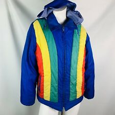 Vintage Lightweight Winter Coat Kids 18 Women's Small Blue Red Yellow front zip