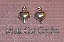 25 x Silver Plated TINY PUFFED HEART LOVE HEART 3D Charms Pendants Beads