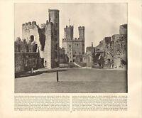 1894 Vittoriano Stampa ~Carnarvon Castle~ North Galles ~ Forti ( Testo