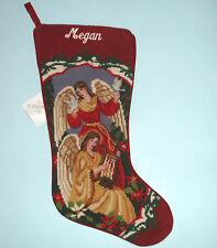Sferra Two Angels Needlepoint Christmas Stocking Embroidered Name Megan Handmade
