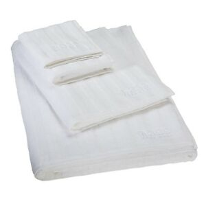 Hugo Boss Luxury Ottoman White Bath Sheet Hand Guest Towels Jacquard 100% Cotton