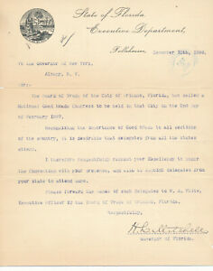 Henry L. Mitchell - Typed Letter Signed as Governor of Florida re. Orlando