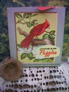 4 Vintage Mid-Century Puzzles Roger Tory Peterson Cardinal Woodpecker Bear Geese