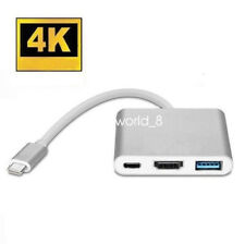Type C to USB-C 4K HDMI USB 3.0 3 in 1 Hub Adapter Cable For Apple Macbook UK