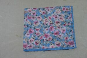 David Donahue Men's Pink Blue Floral Linen Pocket Square