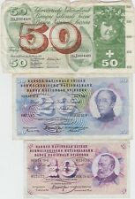 More details for three switzerland 50, 20 & 10 franc banknotes in a used condition