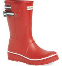 NEW HUNTER Original Short Platform Wedge Rubber Rain Boots US 10 Red/Blue Stripe