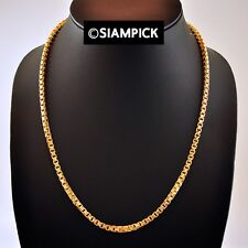 """25"""" Thai Craft Jewelry 24K Gold plated Box Chain Necklace Handmade GIFT Men Toy"""