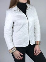 BURBERRY LONDON women's white nova check zip quilted jacket | Size appr. M