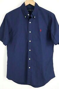 Ralph Lauren Mens sz Medium Navy Blue Short Sleeve Button up Shirt Red Pony