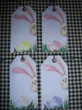 PRIMITIVE 10 HOLIDAY EASTER BUNNY RABBIT W/ EGGS HANG TAGS