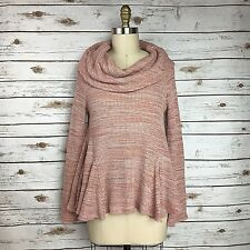 Postmark Anthropologie Pink Thermal Cowl Neck Peplum Swing Top Womens Size Small