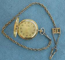 "COLIBRI Gold Tone QUARTZ Pocket Watch with 16"" AE Chain ~ Sets/Runs Engraved JPS"