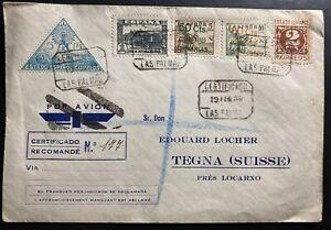 1938 Las Palmas Spain Airmail Civil War Commercial Cover To Tegna Switzerland